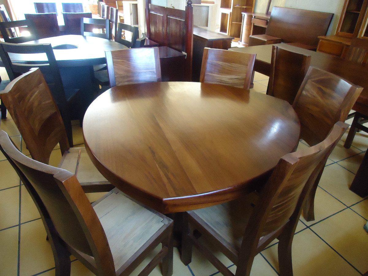 Mesa de comedor triangular con 6 sillas madera solida for Precio de comedor de madera 6 sillas