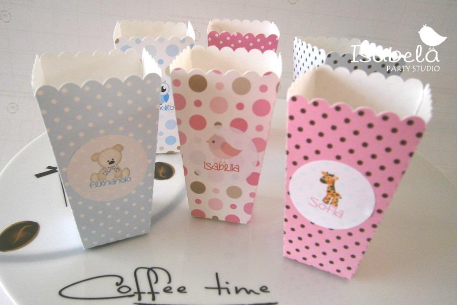 Mesa dulces recuerdos cajas palomitas acetato bautizo for Cajas personalizadas con fotos
