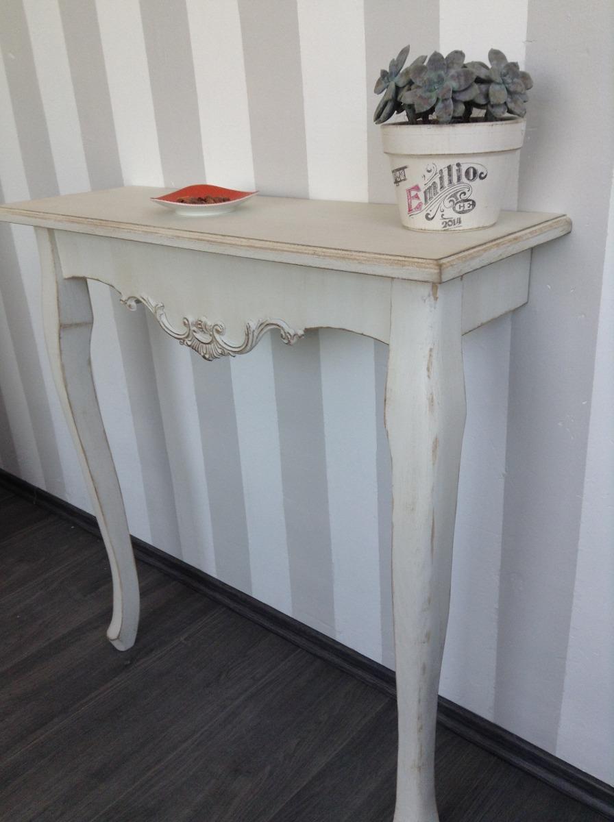 Mesa recibidor estilo vintage color menta o blanco antiguo - Muebles recibidor vintage ...