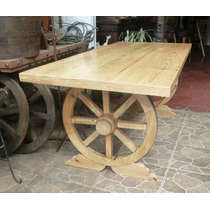 Mesa Modelo Rueda De Carreta Estilo Antiguo