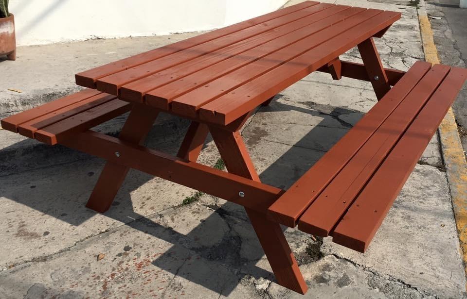 Mesas de madera pic nic picnic exterior bancas jardin for Muebles madera jardin exterior