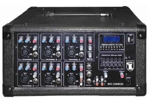 Mezcladora Amplificada 6ch 1600w Usb Display Ecualizador