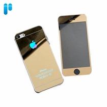 Mica Espejo Doble Cristal Templado Dorado Iphone 5 2x1