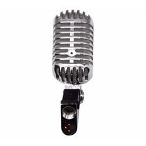 Microfono De Condensador Vintage Estilo Elvis Metal Cromado.