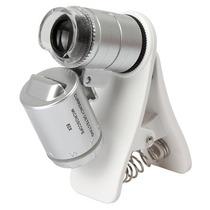 Microscopio Universal Mini 60x Para Celular Clip Luz Led Uv
