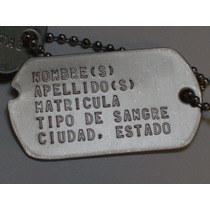 Placas De Identificacion Militar Tipo Segunda Guerra Mundial