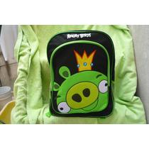 Mochila Grande Angry Birds Cerdito Rey Original Frente Peluc