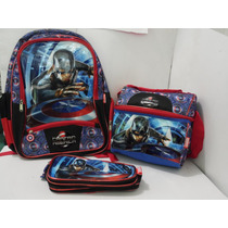 Paquete Escolar Capitán América Mochila Lonchera Y Lapicera