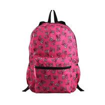 Mochila Backpack Escolar Grande Rosa Calaveras Importado E4f