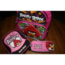 Juego Set Mochila Lonchera Lapicera Escolar Angry Birds Nuev