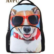 Mochila Backpack 3d Escolar Grande 44x32x18cm Perro Jack E4f