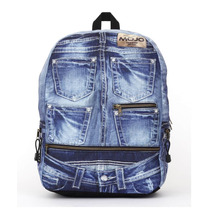 Mochila Backpack Denim Jeans Compartimento Para Tablet Mojo