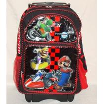 Mario Bros Kart. Mochila Con Ruedas De Gel P / Primaria.