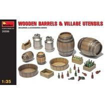 Paisaje Modelo - Barriles De Madera Y Village Utensilios 1:3