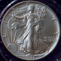 Aaaa 1991 Libertad Caminando Moneda Plata 999 Peso Troya F14
