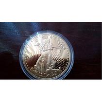 Réplica Moneda 50 Dólares Walking Liberty Bañada En Oro