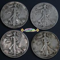 Aaaa 4 Monedas Dolar Plata Vf 1942 1943 1944 1945 Denver Kt6
