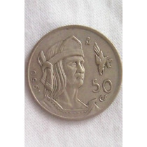50 Centavos 1950 Plata México Emperador Cuahutemoc - Hm4