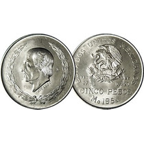 Moneda Plata Hidalgo Cinco Pesos 1951