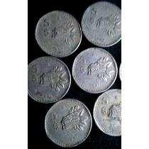 Monedas Antiguas De 5 Pesos Quetzalcoatl México 1980 - 1985