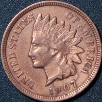 Un Centavo 1907 Eeuu Cabeza Indio Cobre Rara Buen Estado Ipr