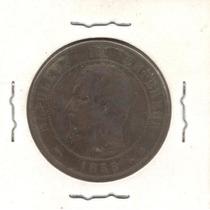 Moneda Francesa De 1855 En Cobre Rara Antigua