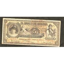 Billete De Revolucion 5 Pesos De Sonora