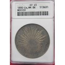Moneda México 8 Reales Chihuahua 1890 Certificada Plata