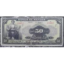 Billete Banco De Mexico 50 Pesos 1933 Tipo Ancho Escaso