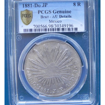Moneda México 8 Reales Durango 1881 Jp Pcgs Au Cenrtificada