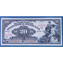 Billete Banco De La Republica Mexicana 20pesos 1918 Specimen