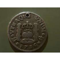 Moneda Columnaria De 1/2 Real Felipe V 1736. Plata.