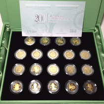 Set De Monedas $5 Conmemorativas Independencia Mate Brillo
