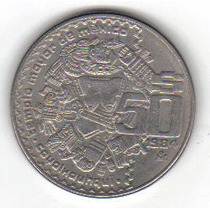 50 Pesos 1984 México Diosa Azteca La Luna Coyolxauhqui - Hm4