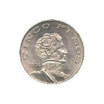 Moneda $ 5 Imagen Guerrero Año 72 Y 76 Precio Por Las 2