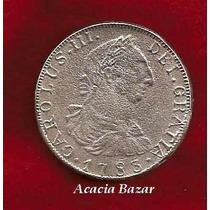 Moneda Colonial 8 Reales Busto Carolus I I I Plata