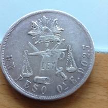Moneda 1 Peso Balanza Plata Ley .902 Oaxaca 1870. Muy Escasa