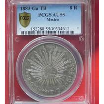 Moneda México 8 Relaes 1883 Guadalajara Tb Certificada S/c