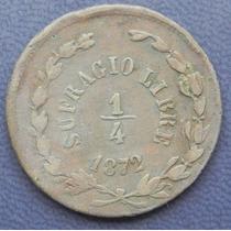 Moneda Mexico 1/4 De Real Durango Sufragio Libre 1872 Cobre