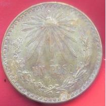 Moneda Mexico 1 Peso 1944 Plata Tornazol