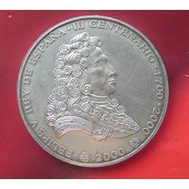 Moneda México 300 Años Felipe V Rey De España 1 Onza Plata
