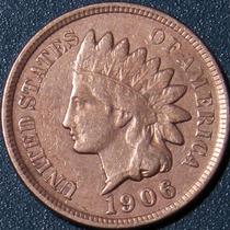 Un Centavo 1906 Eeuu Cabeza Indio Cobre Rara Buen Estado Ipx