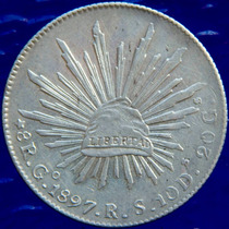 Aaaa 1897 8 Reales Go Rara Moneda Mexicana Peso Ms Plata A95