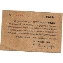 Vale Por 5 Pesos Antiguo 1913