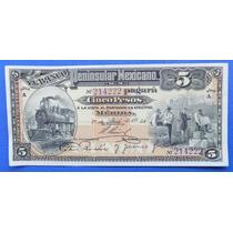 Billete México Banco Peninsular Mexicano 5 Pesos 1914