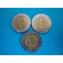 Set 3 Monedas Mexico 5 Pesos Bicentenario Fechas 08,09,10