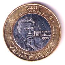 Moneda De Octavio Paz Año 2010 $20 Sin Circular En $50 Rm4