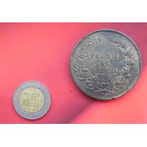 Medalla México Premio Al Merito Bronce Año 1880