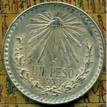 1 Peso Resplandor 1938 Plata Ley .700