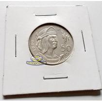 Moneda De Plata 50 Centavos Cuauhtemoc 1950 Excelente!!